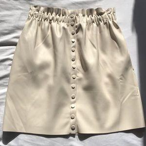 Cream leather skirt!